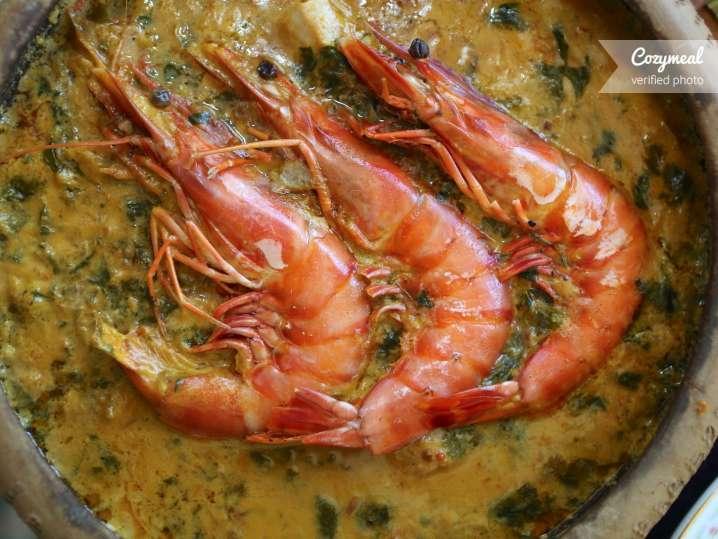 coconut milk poached shrimp