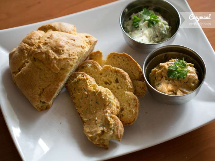 Fresh bread with different butters