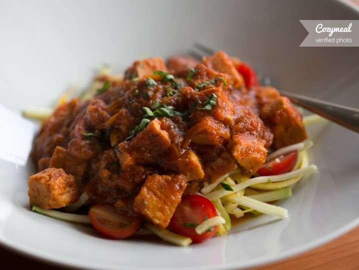 Chicken stew on zucchini noodles