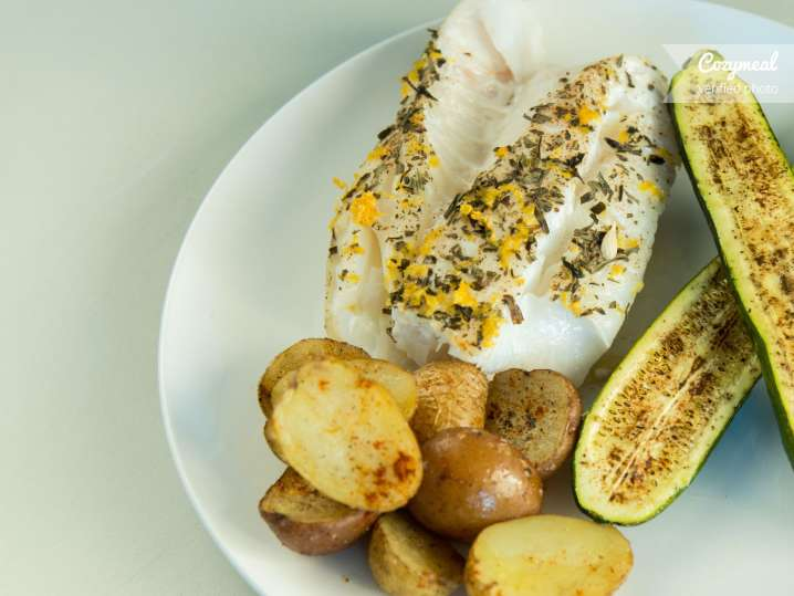 herbed olive oil poached white fish