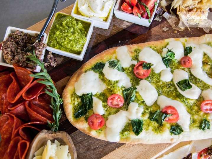 pesto flatbread with mozzarella