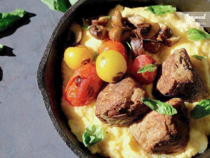 polenta with tofu and mushroom meatballs