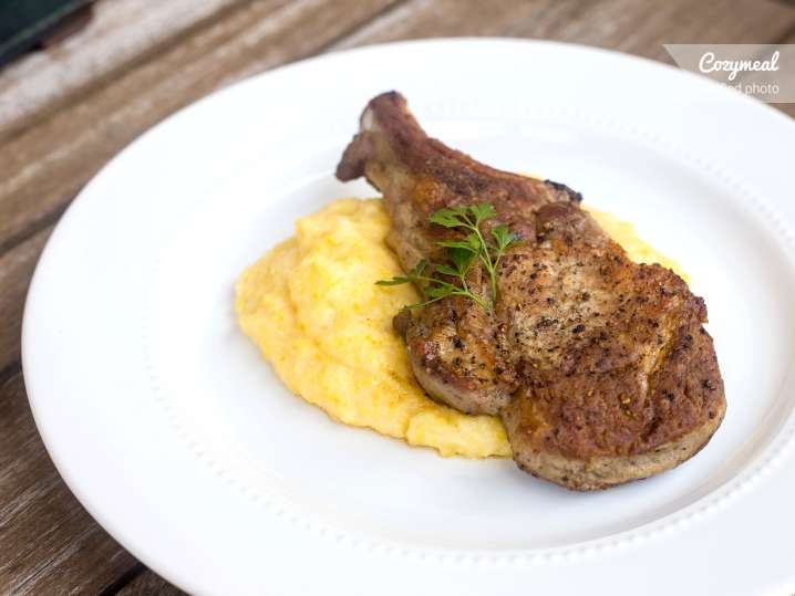 pork chop with grits