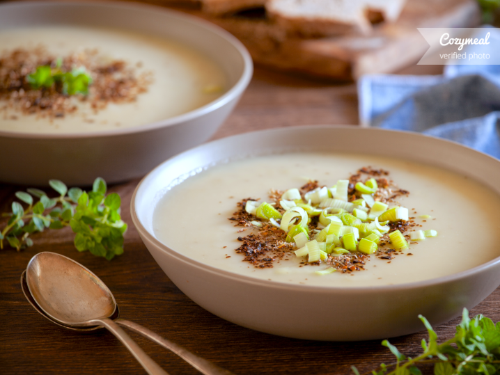 potato and leek soup in bowls