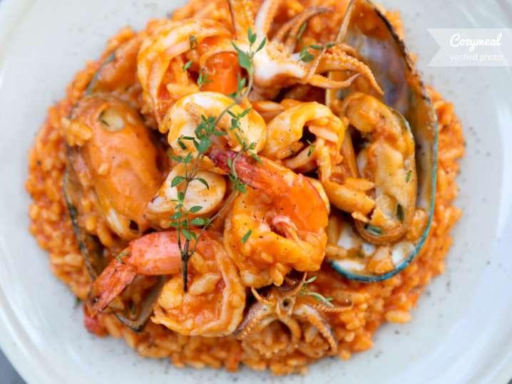 seafood paella with shrimp