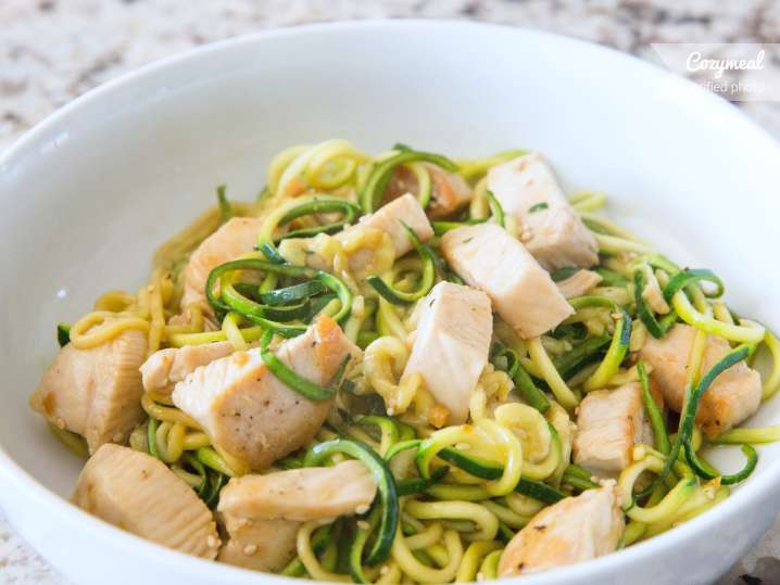 soy ginger chicken with zucchini noodles