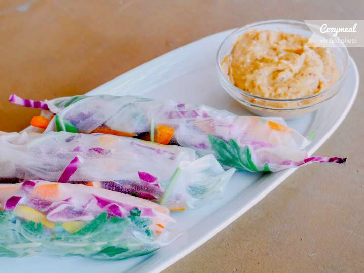 vegetable spring rolls with chili peanut sauce