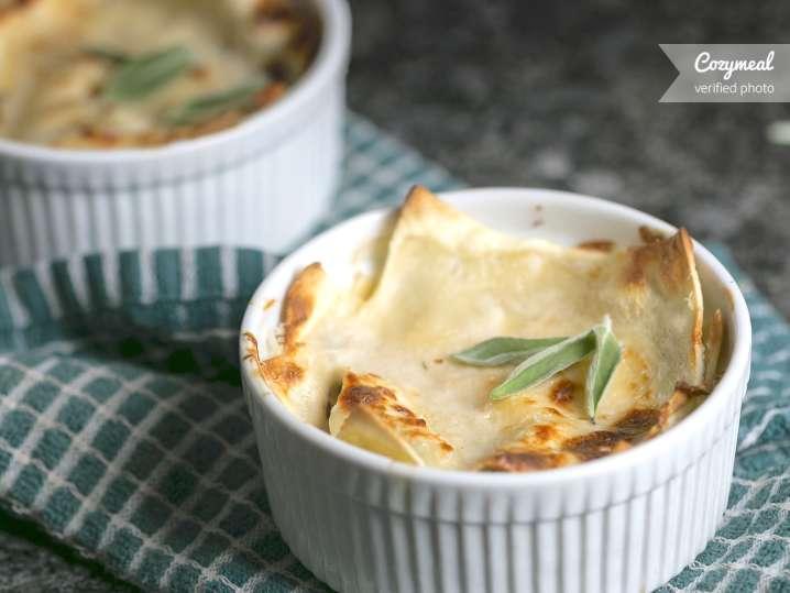 white lasagna with mushrooms