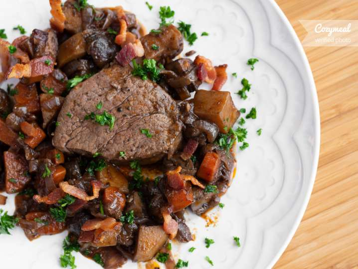 Filet of beef Bourguignon plated
