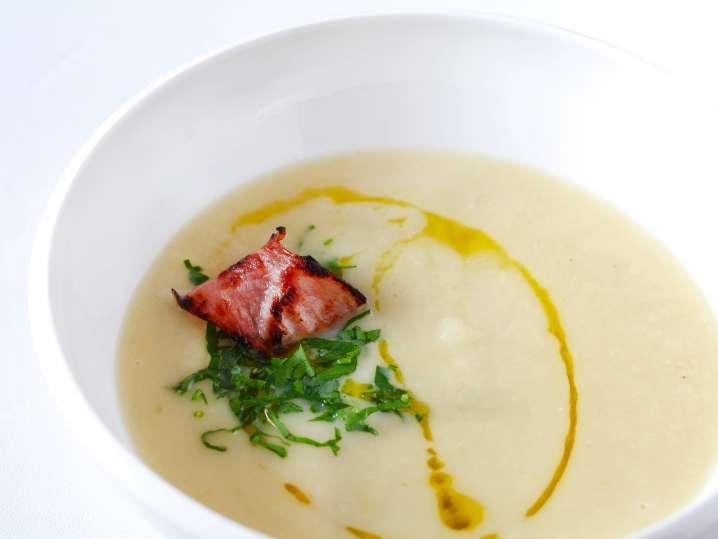 """Leek Soup with Pistachio """"Soil"""" and Saffron Jus"""
