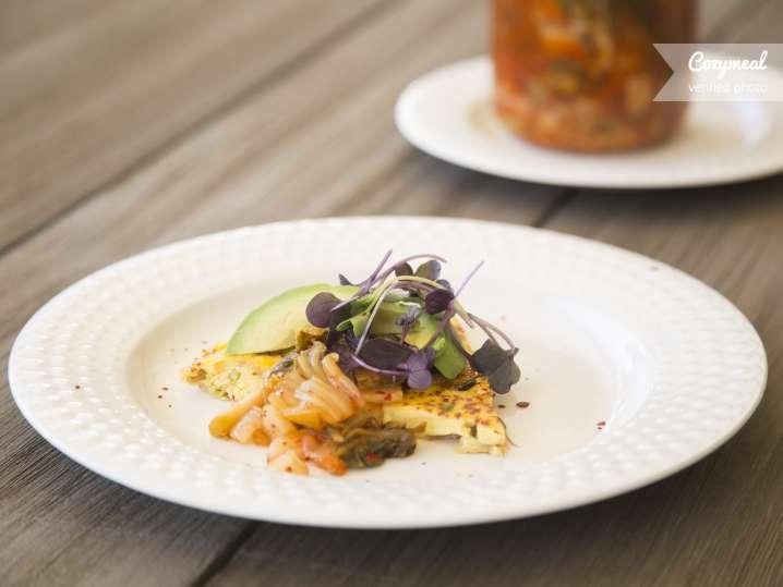 Kimchi and Avocado frittata