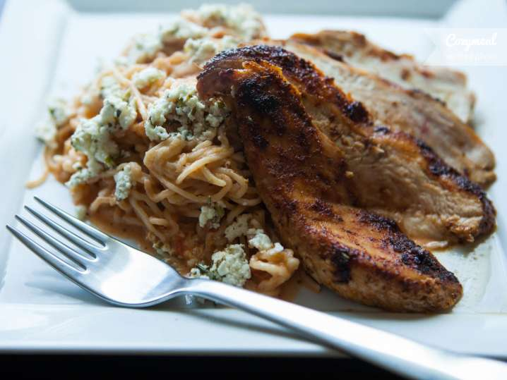 Blackened Chicken with vodka spaghetti