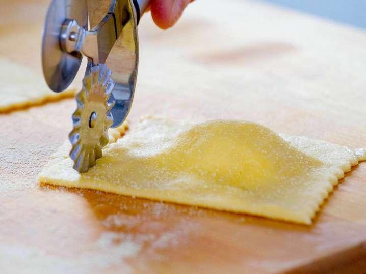 cutting butternut squash ravioli