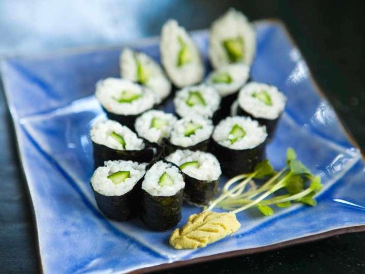 homemade kappa maki sushi