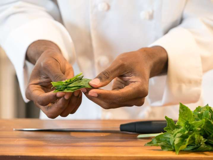 chef holding freshly picked basil leaves