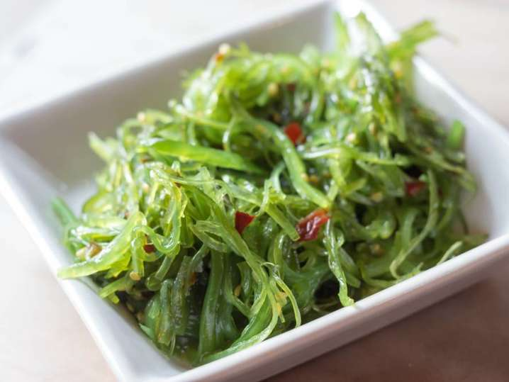 close up of seaweed salad in a bowl