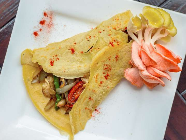 savory crepes on a plate with vegetables
