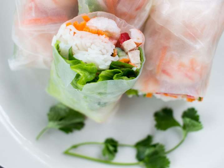 sushi style spring roll with crab stick