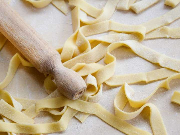 fresh pasta rolled out and cut into pappardelle