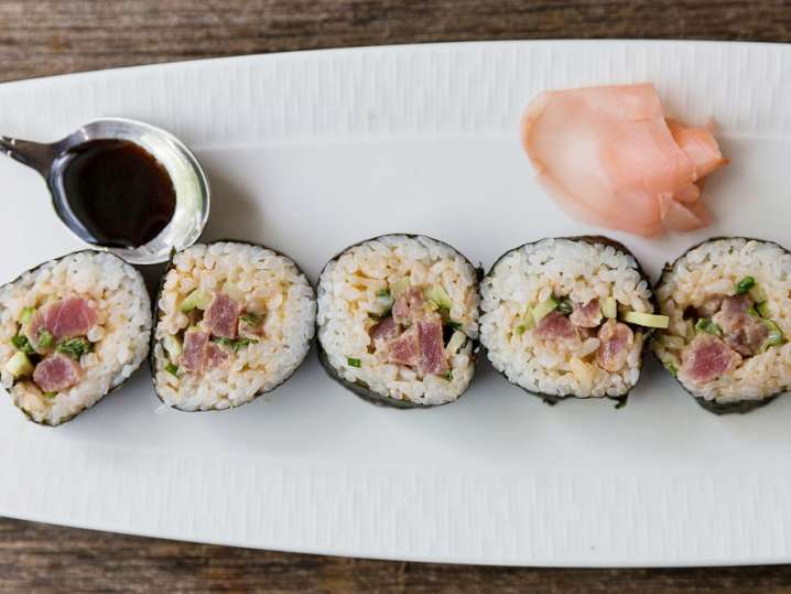 plated sushi roll on a dish