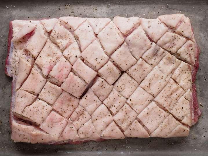 scored raw pork belly
