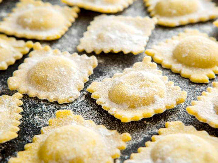 spinach and ricotta ravioli ready to cook