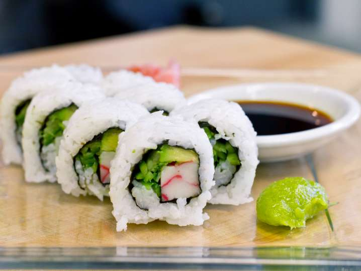 california roll with wasabi and soy sauce