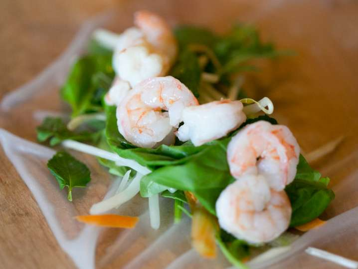 shrimp and vegetables on a rice paper wrapper