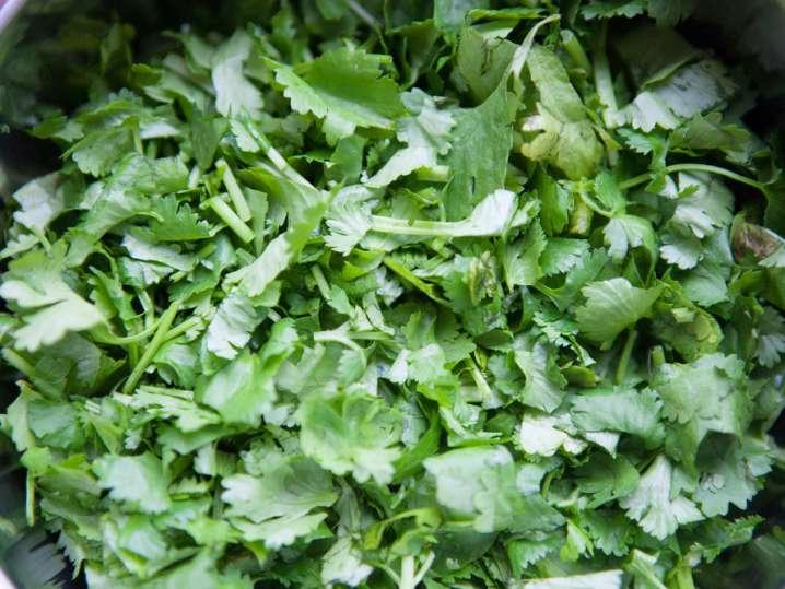 chopped cilantro in a bowl