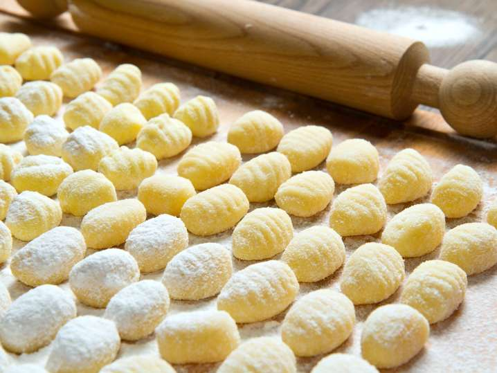 handmade gnocchi and rolling pin