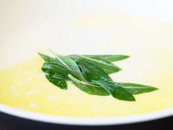 sage and butter in a skillet