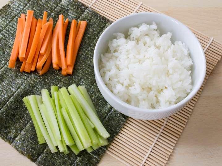 sushi rice, cucumber, carrot, and nori