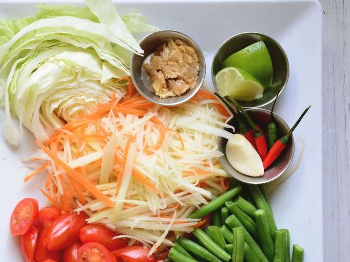 ingredients to make papaya salad | Classpop