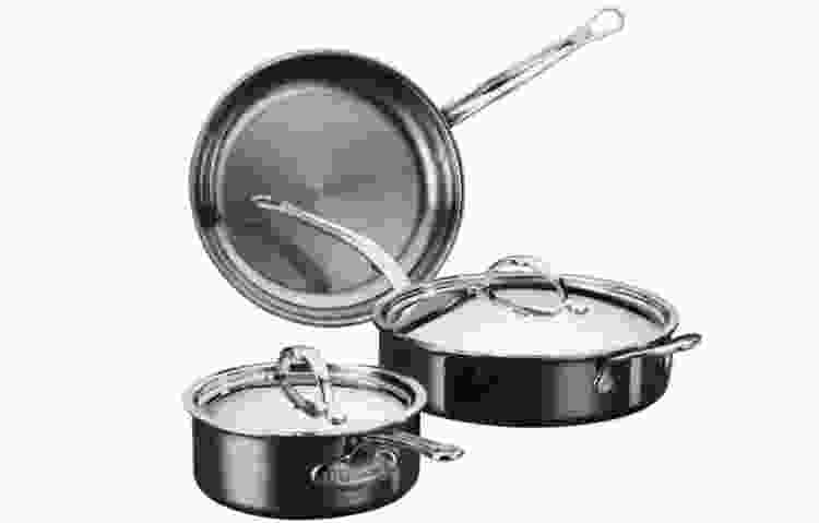 the Hestan NanoBond Titanium Stainless Steel Essential Set is some of the best cookware for glass top stoves