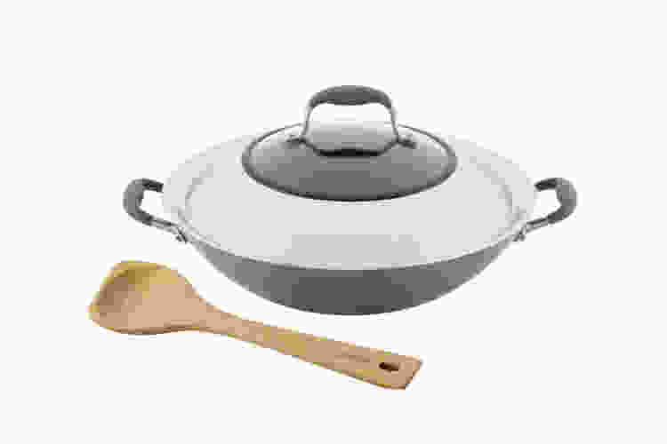 Anolon Advanced Home 14 Inch Covered Wok with Wood Spoon – Moonstone