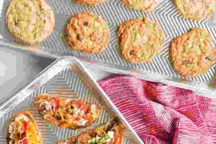 the Nordic Ware Prism 2-Pc Baker's Bundle has some of the best cookie sheets