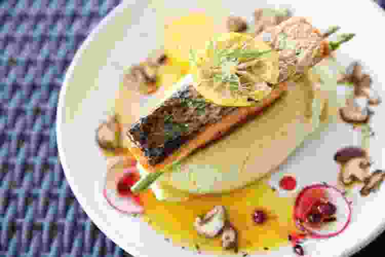salmon filet with lemon prepared by a private chef