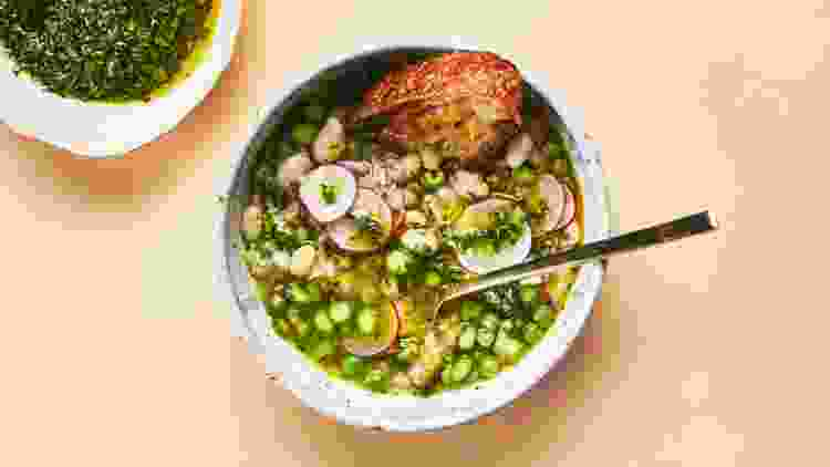 white bean and spring vegetable stew is a spring recipe to brighten up your table
