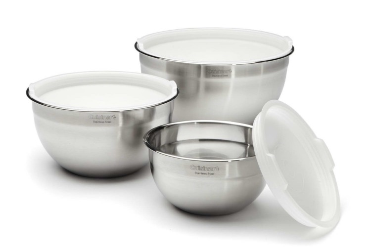 the Cuisinart Stainless Steel Mixing Bowls with Lids - Set of 3 is a useful housewarming gift