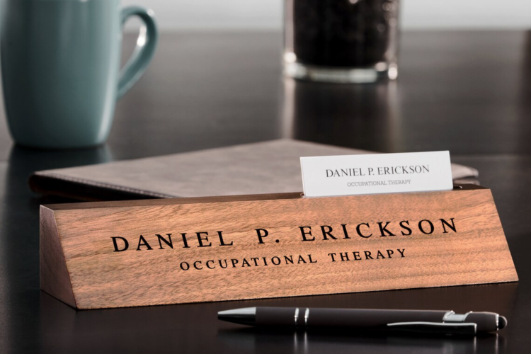 a personalized engraved wooden desk nameplate