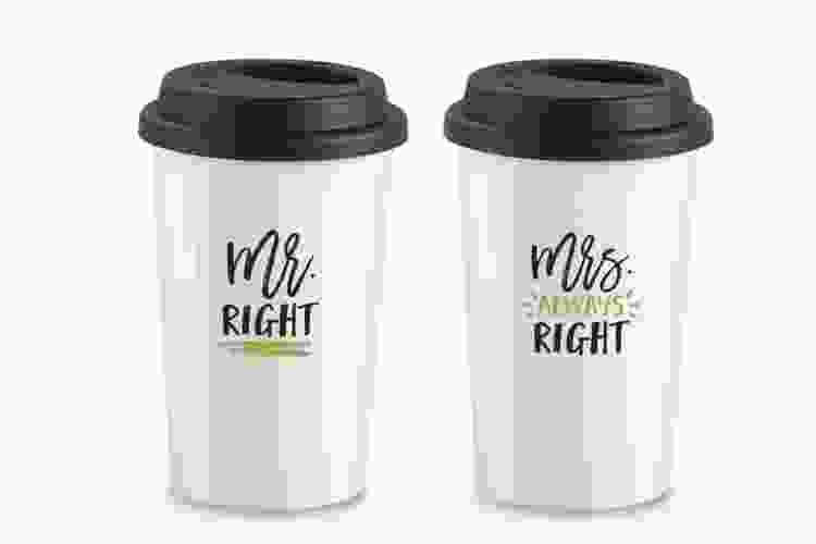 mr. and mrs. travel mugs are a funny gift for couples