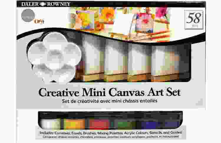 a mini paint canvas set is a cute last minute christmas gift