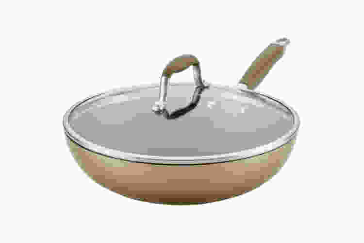 the Anolon Advanced Home 12 Inch Covered Ultimate Pan is one of the best woks