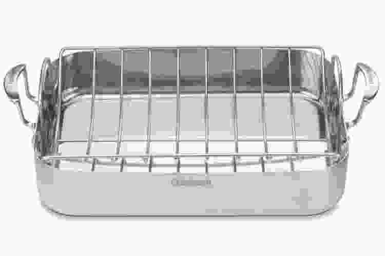 the Cuisinart Multiclad Pro Triple Ply Stainless 16 Inch Roasting Pan With Rack is one of the best roasting pans