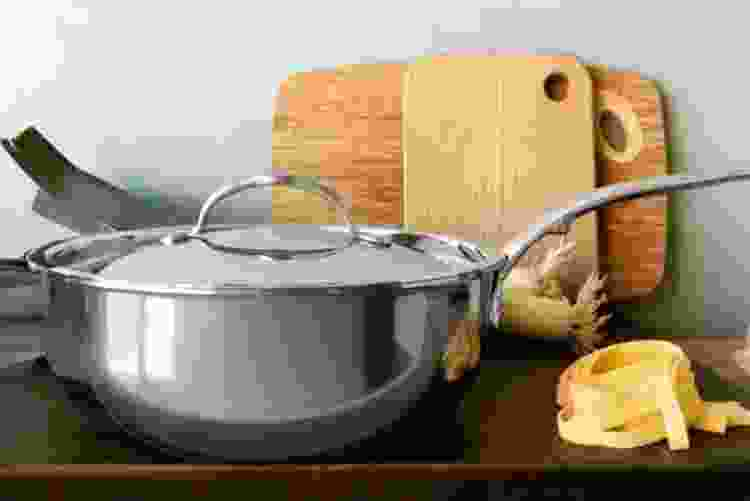the Hestan NanoBond Titanium Stainless Steel Essential Pan is some of the best cookware for glass top stoves