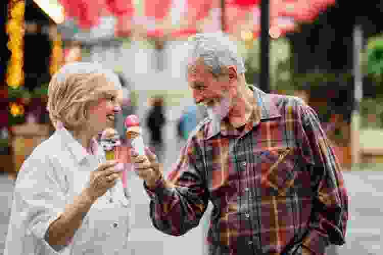 older couple enjoying ice cream for a fun date idea in denver