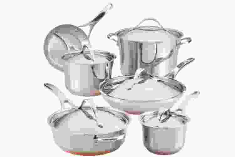the Anolon Nouvelle Stainless 11-Piece Cookware Set is some of the best cookware for glass top stoves