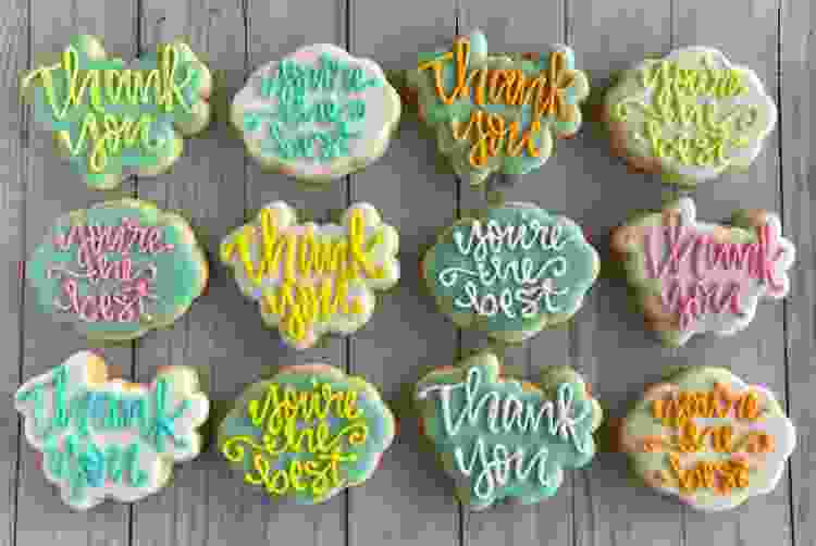 decorated cookies are a sweet thank you gift