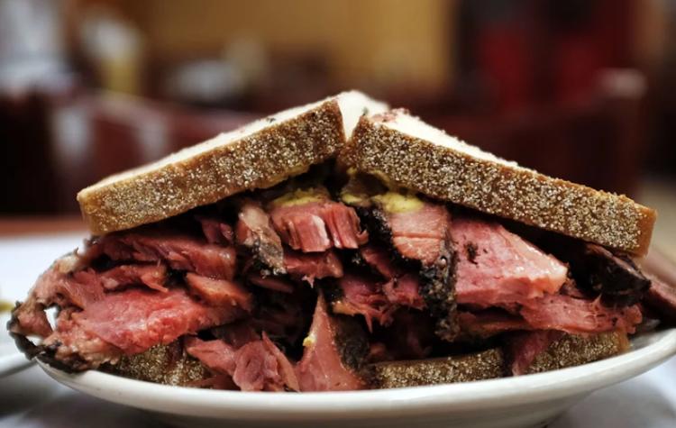 A heaping pastrami sandwich from Katz's Delicatessen