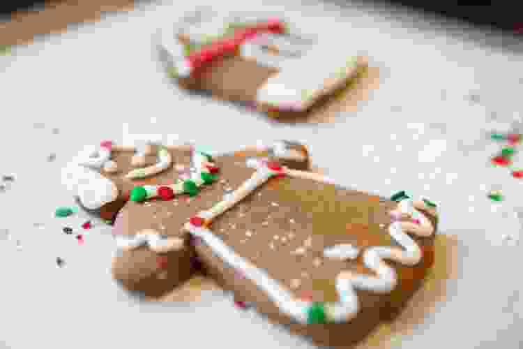 gingerbread man cookie decorated for Christmas